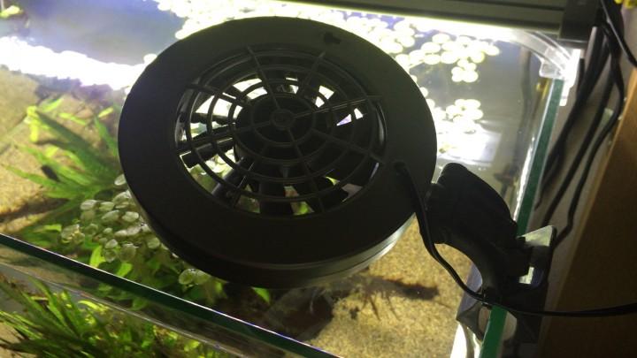 水槽用冷却ファンで水槽の水温を下げる