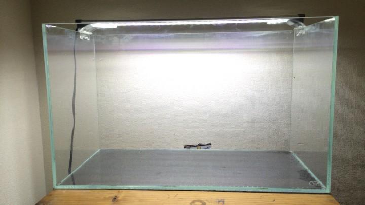 水槽を水槽台に設置