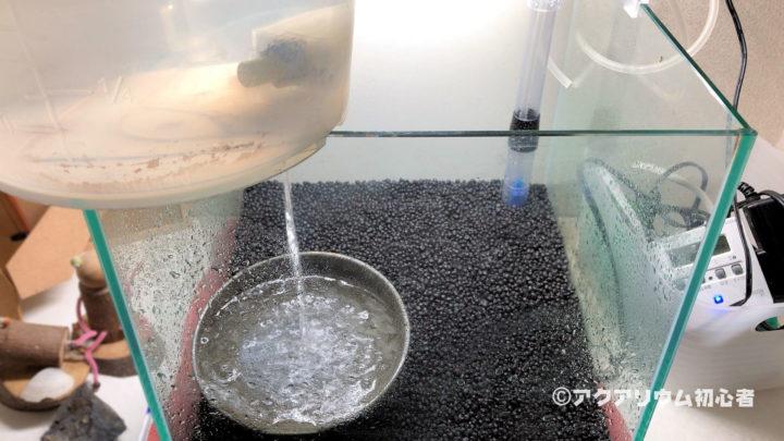 水槽に飼育水を注水